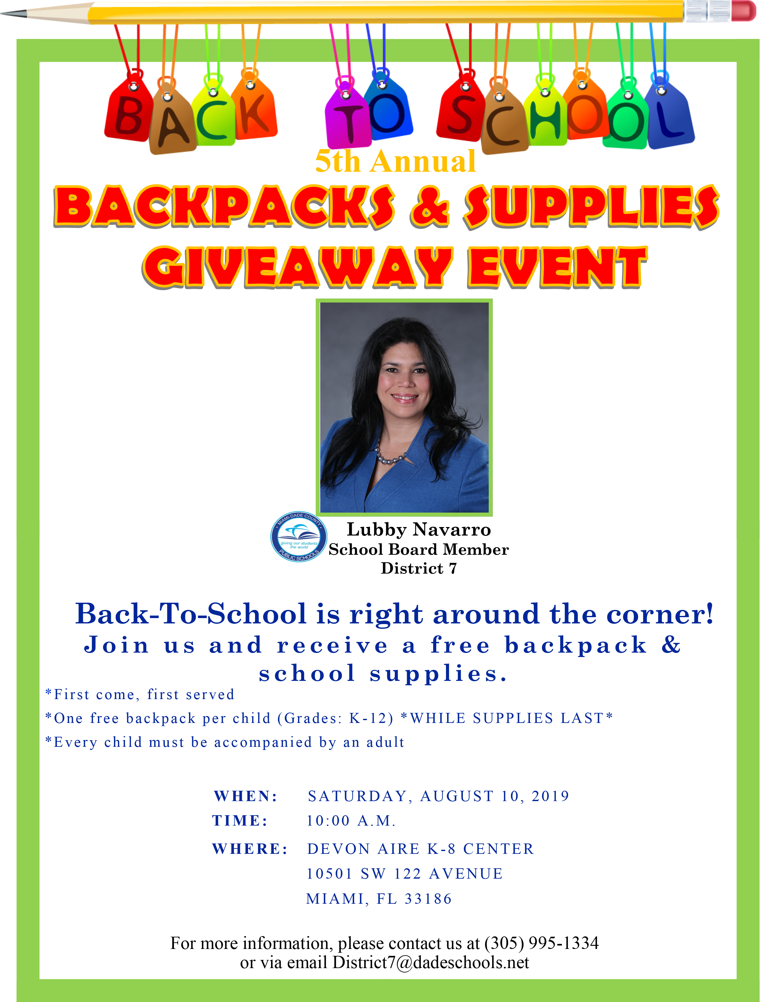 5th Annual Backpack & Supplies Giveway @ DEVON AIRE K-8 CENTER | Miami | Florida | United States